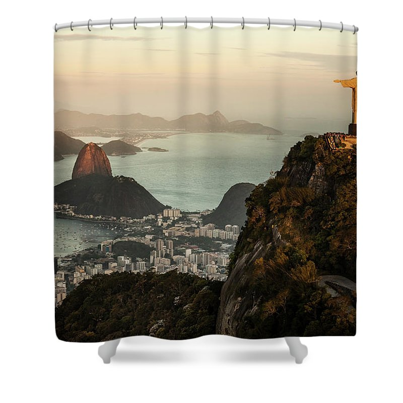 Outdoors Shower Curtain featuring the photograph View Of Rio De Janeiro At Sunset by Christian Adams