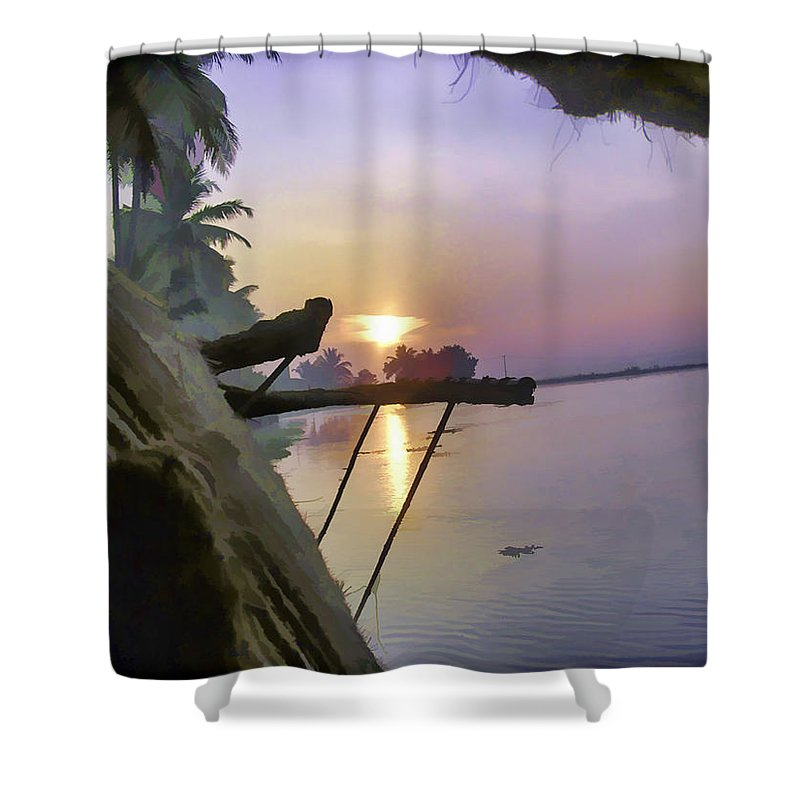 Alleppey Shower Curtain featuring the digital art View Of Sunrise From Boat by Ashish Agarwal