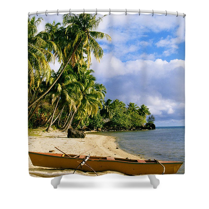 Afternoon Shower Curtain featuring the photograph View Of Tahiti by Joe Carini - Printscapes