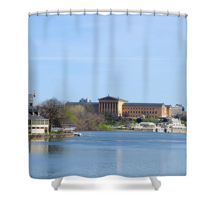 Art Shower Curtain featuring the photograph View Of The Art Museum And Waterworks In Philadelphia by Bill Cannon