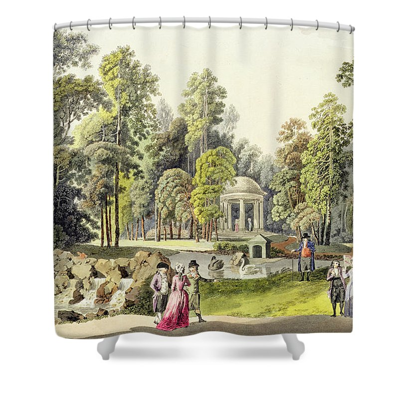 View Of The Temple Of Diana At Erlaw Shower Curtain featuring the painting View Of The Temple Of Diana At Erlaw by Laurenz Janscha