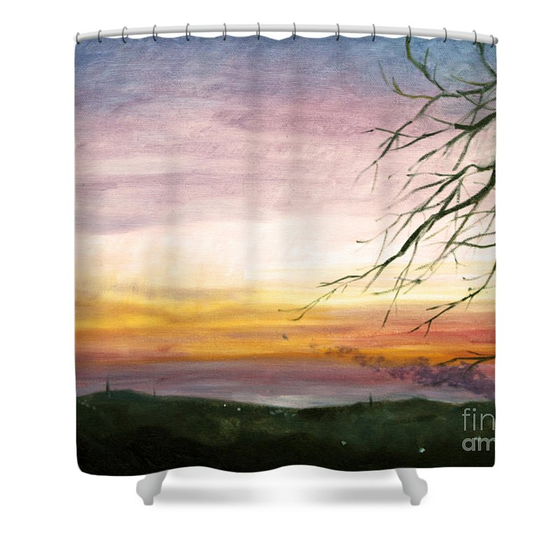 Hilary J England Shower Curtain featuring the painting View Of The Valley At Dusk by Hilary England