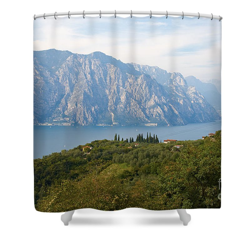Lake Shower Curtain featuring the photograph View Over The Lake Garda In Italy by Nick Biemans