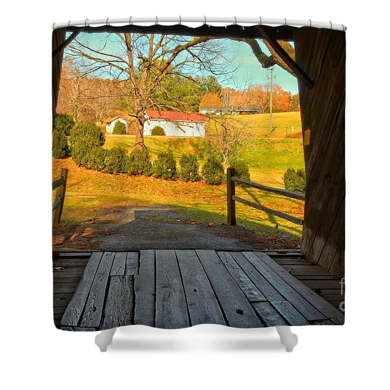 Meems Bottom Shower Curtain featuring the photograph View Through The Meems Bottom Covered Bridge by Adam Jewell