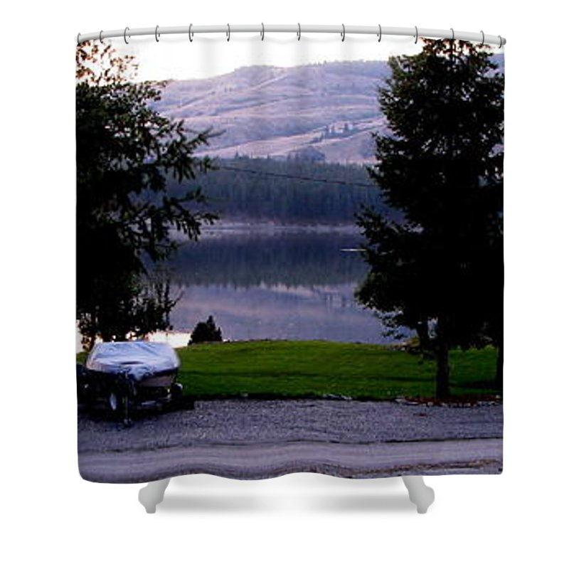 Art For The Wall...patzer Photography Shower Curtain featuring the photograph View To Columbia by Greg Patzer