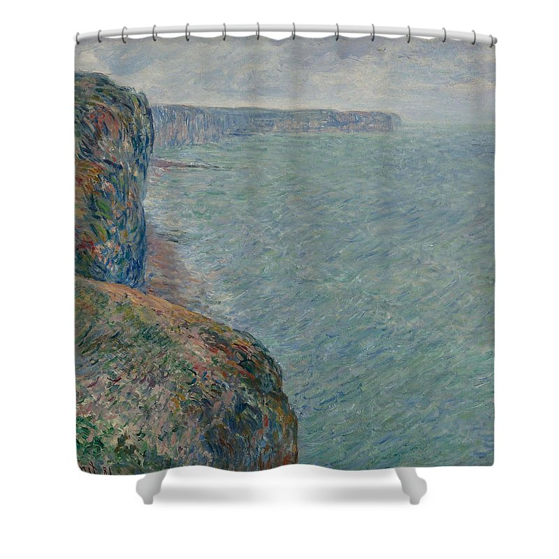 Claude Monet Shower Curtain featuring the painting View To The Sea From The Cliffs by Claude Monet