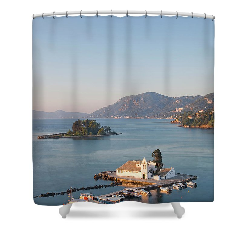 Scenics Shower Curtain featuring the photograph View To Vlacherna Monastery, Kanoni by David C Tomlinson