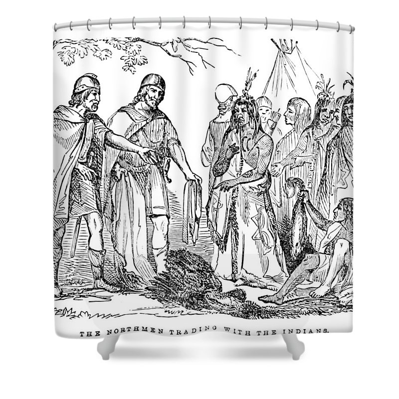 Exploration Shower Curtain Featuring The Photograph Vikings Trading With Native American By British Library