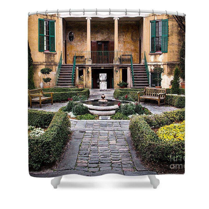 Garden Shower Curtain featuring the photograph Villa Courtyard by Perry Webster
