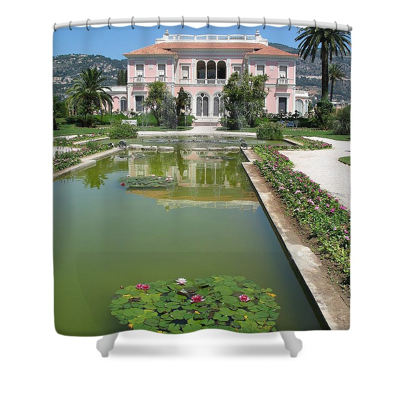 Villa Shower Curtain featuring the photograph Villa Ephrussi De Rothschild With Reflection by Christiane Schulze Art And Photography