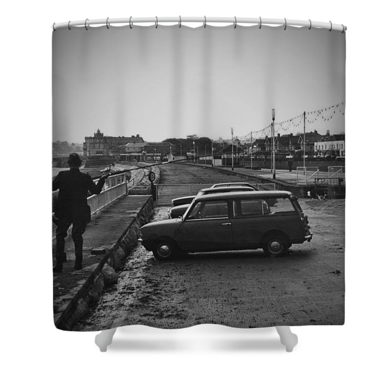 1970s Shower Curtain featuring the photograph Vinatge 70s Fishing by Maj Seda