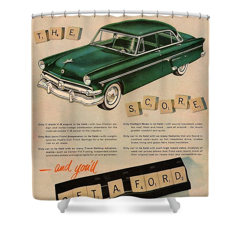 Vintage Car Shower Curtain Featuring The Digital Art 1954 Ford Classic Advert By Georgia