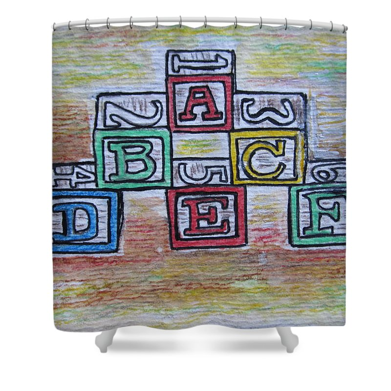 Vintage Shower Curtain featuring the painting Vintage Abc Wooden Blocks by Kathy Marrs Chandler