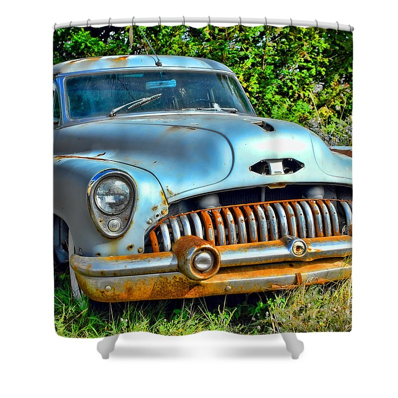 Car Shower Curtain featuring the photograph Vintage American Car In Yard by Olivier Le Queinec