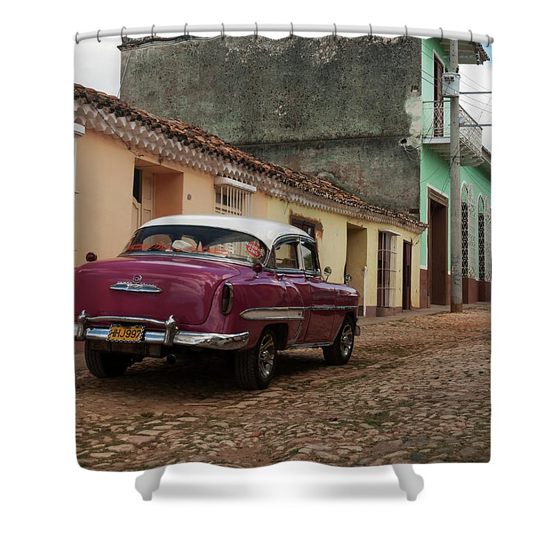 Latin America Shower Curtain featuring the photograph Vintage American Cars In Cuba by John Elk Iii