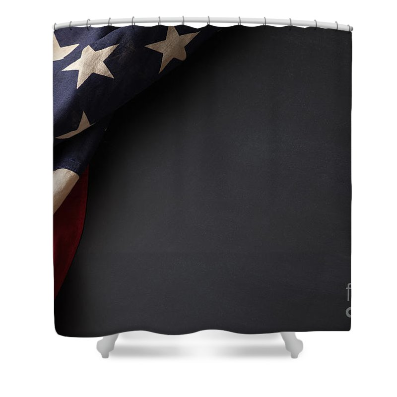 American Shower Curtain featuring the photograph Vintage American Flag On A Chalkboard by Leslie Banks