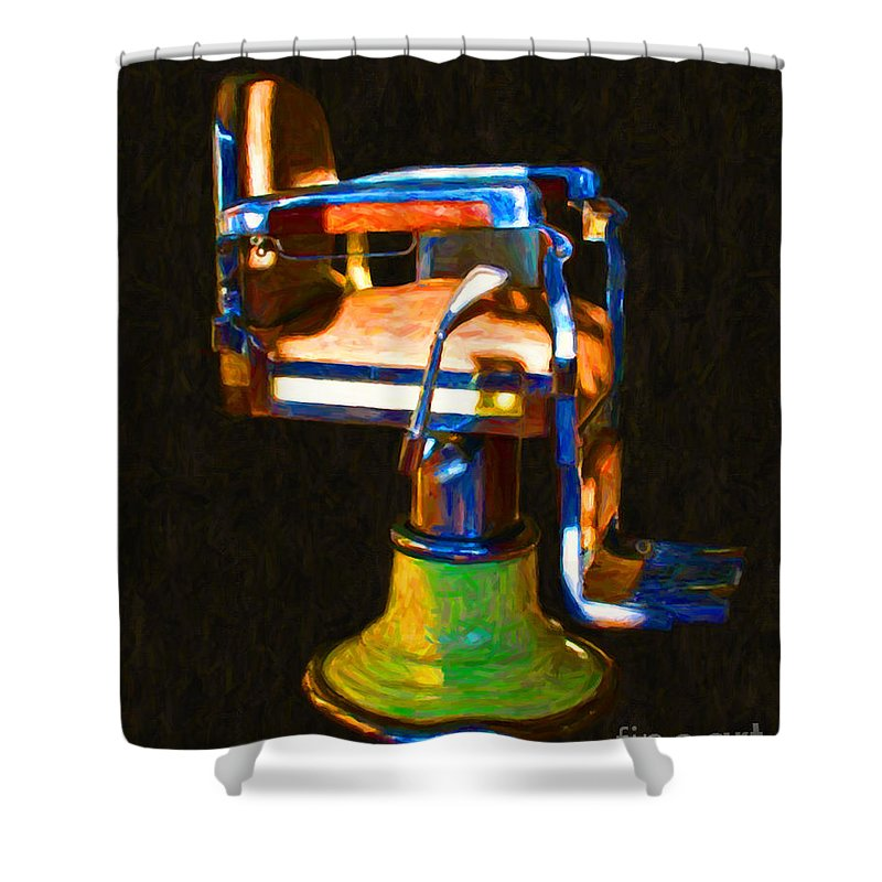 Barber Shower Curtain featuring the photograph Vintage Barber Chair - 20130119 - V1 by Wingsdomain Art and Photography