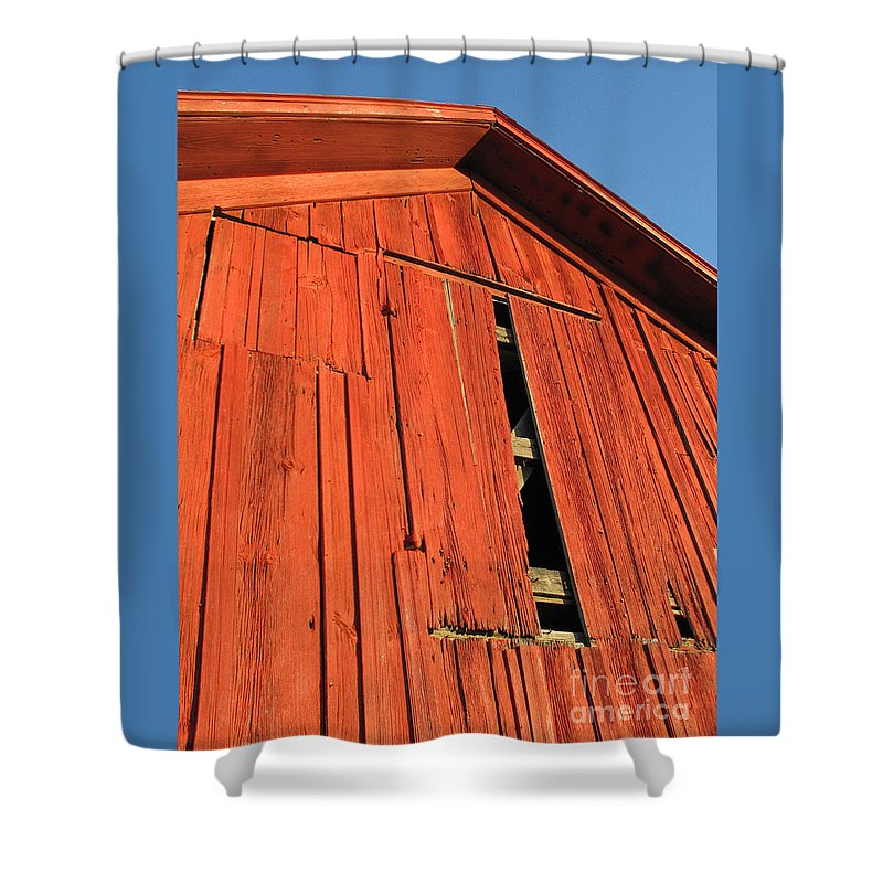Barn Shower Curtain featuring the photograph Vintage Barn Aglow by Ann Horn