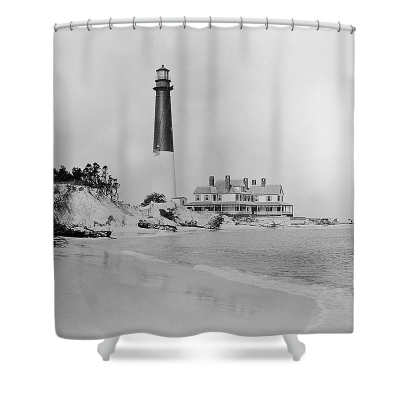 Vintage Shower Curtain featuring the photograph Vintage Barnegat Lighthouse by Bill Cannon