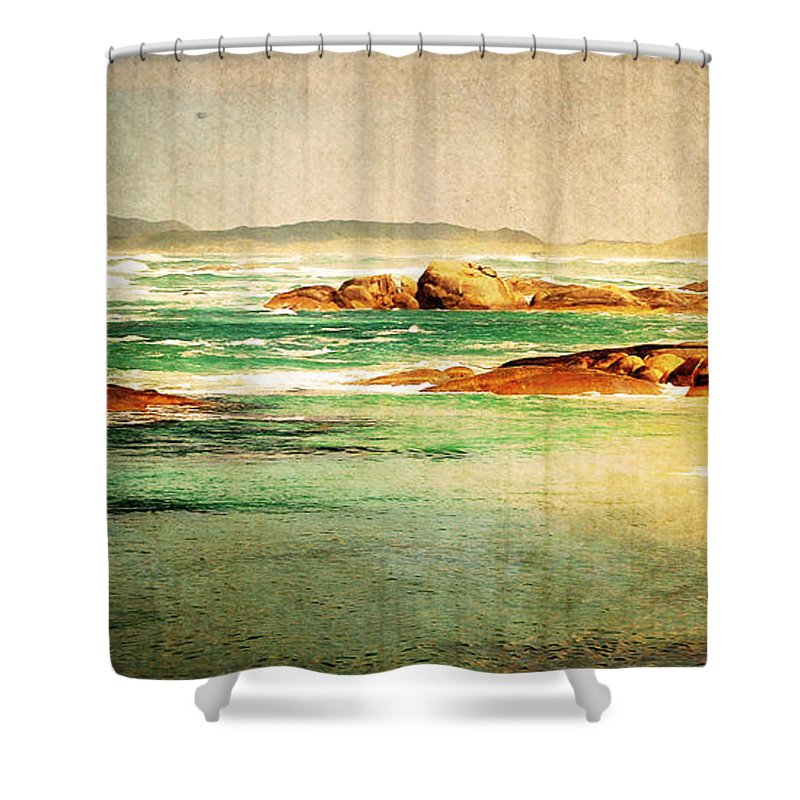 Vintage Shower Curtain Featuring The Photograph Beach By Phill Petrovic
