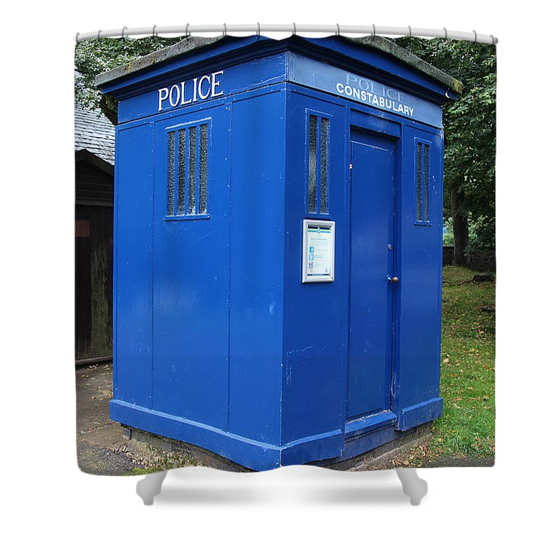 Blue Box Shower Curtain featuring the photograph Vintage British Blue Police Phone Box by Tom Conway