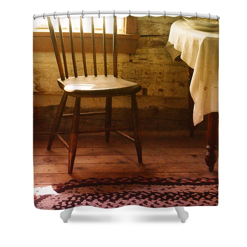 Chair Shower Curtain featuring the photograph Vintage Chair And Table by Jill Battaglia