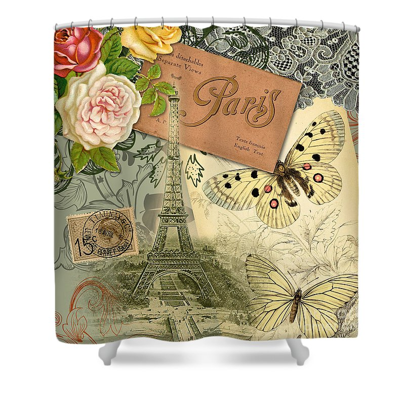 Doodlefly Shower Curtain featuring the digital art Vintage Eiffel Tower Paris France Collage by Mary Hubley