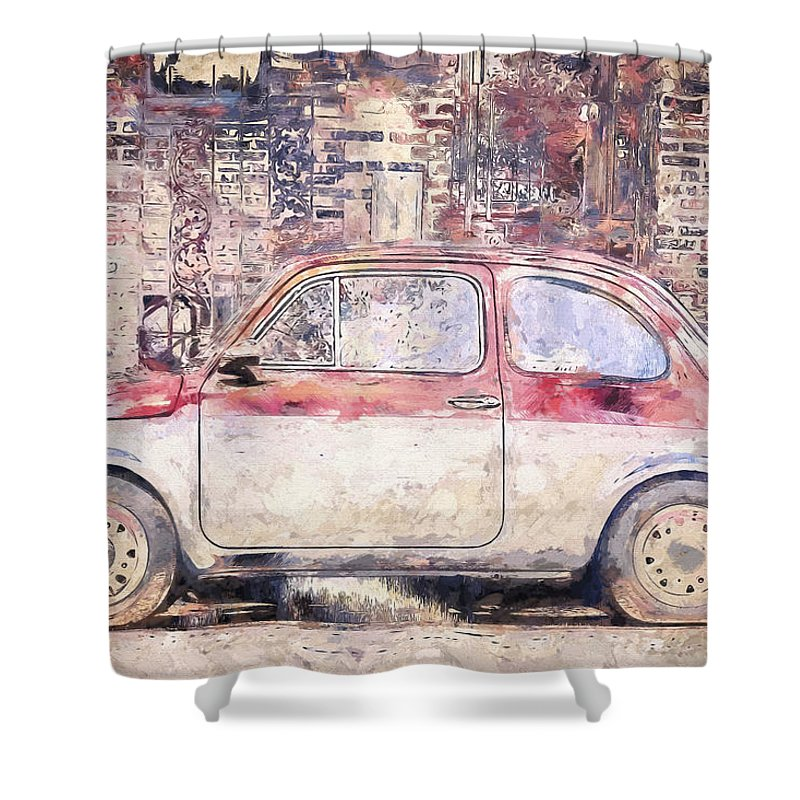 Vintage Shower Curtain featuring the photograph Vintage Fiat 500 by Scott Norris