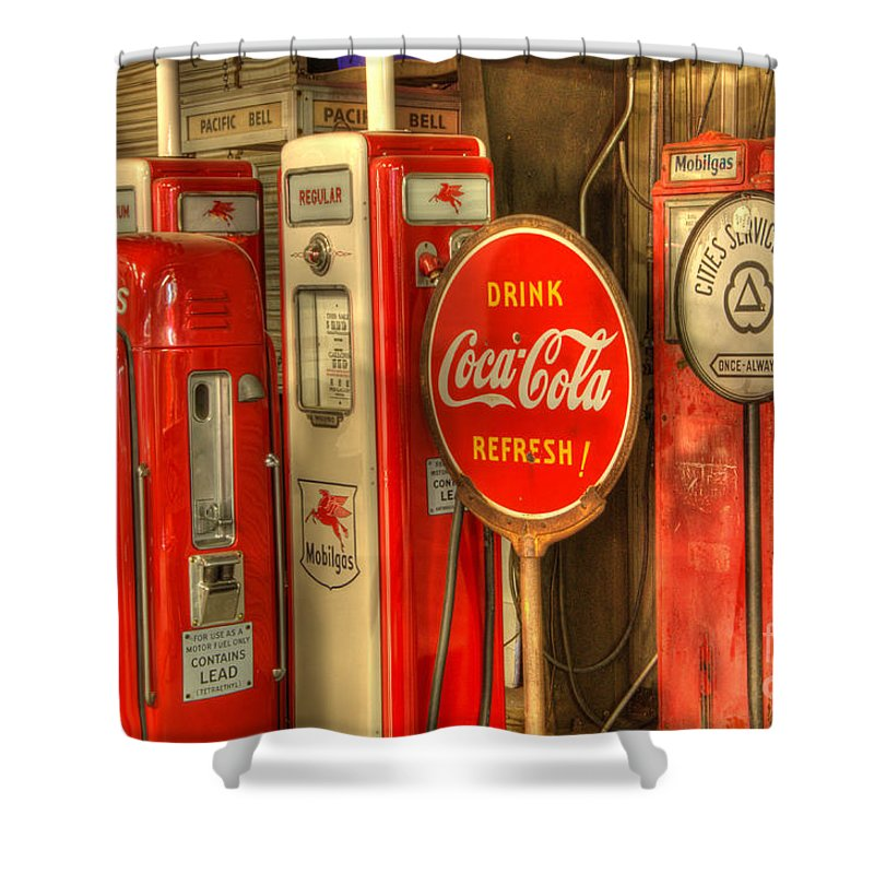 Vintage gasoline pumps with coca cola sign shower curtain - Bathroom coca cola shower curtain ...