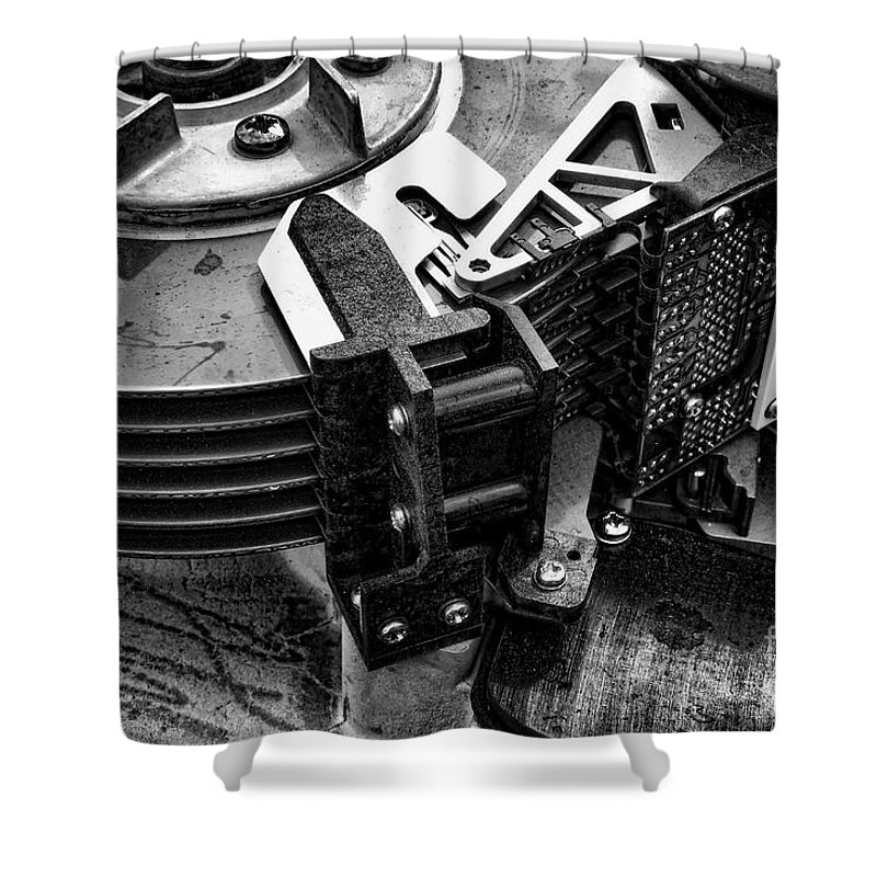Computer Shower Curtain featuring the photograph Vintage Hard Drive by Olivier Le Queinec