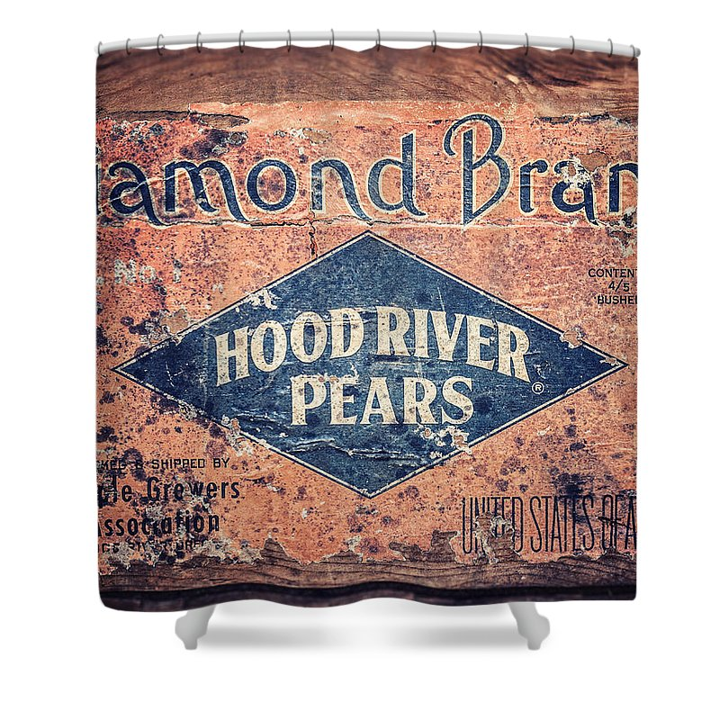 Pear Crate Shower Curtain featuring the photograph Vintage Hood River Pear Crate by Lisa Russo
