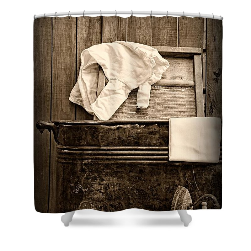 Paul Ward Shower Curtain featuring the photograph Vintage Laundry Room In Sepia by Paul Ward