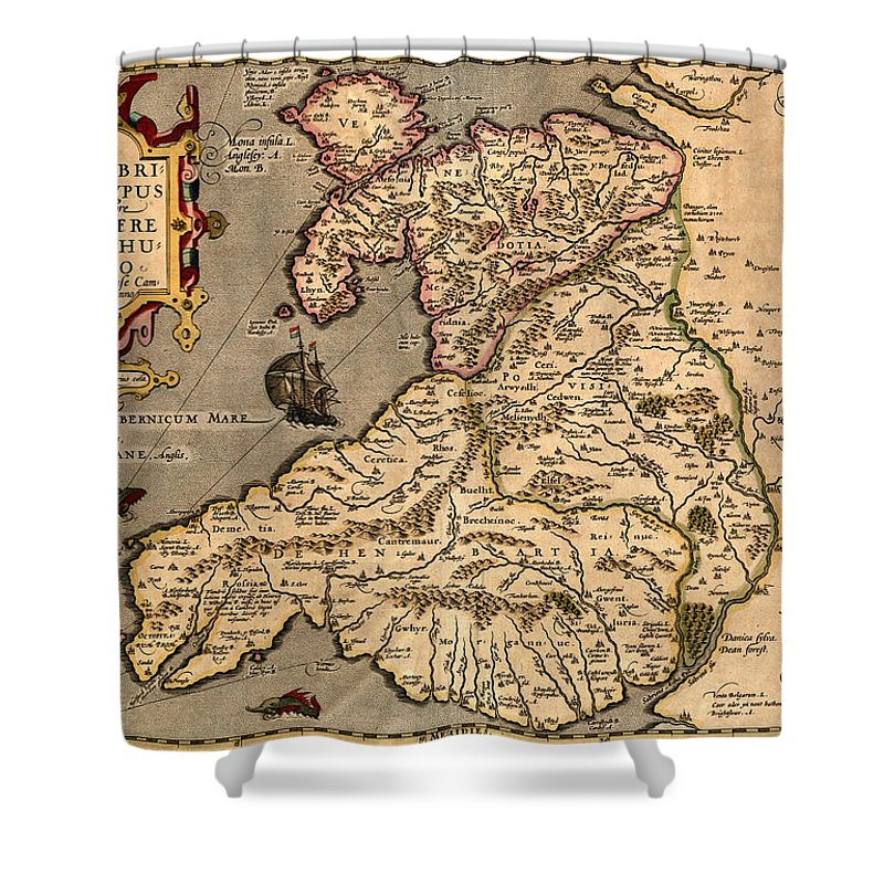 Vintage Map Of Wales 1633 Shower Curtain For Sale By Andrew Fare