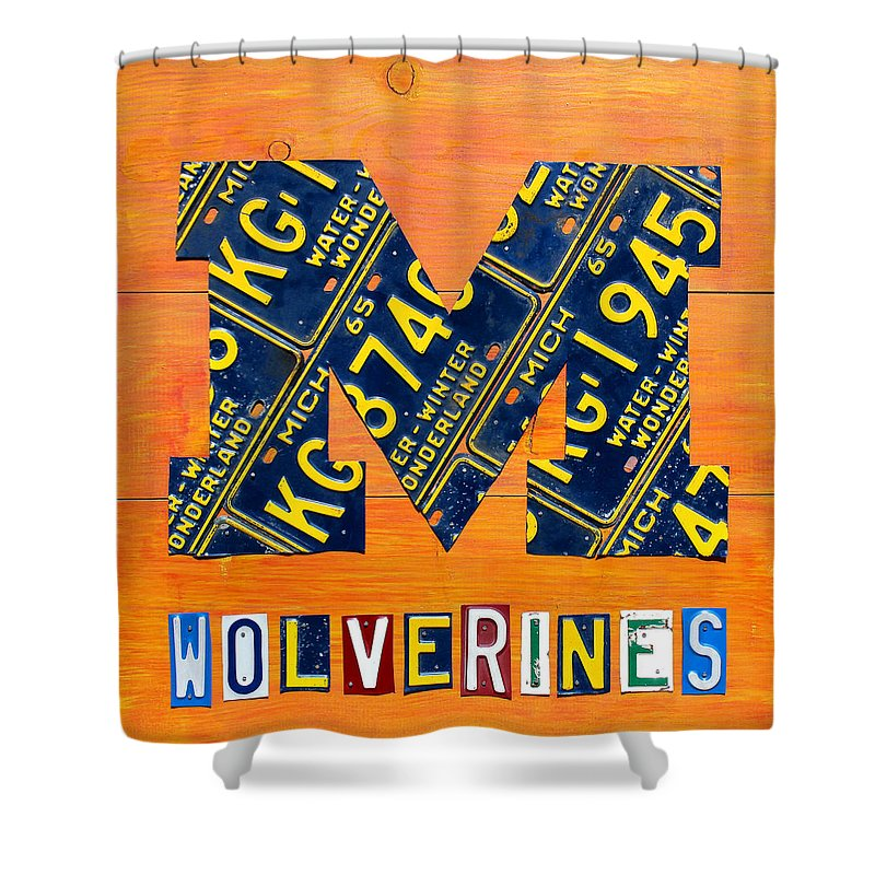 Michigan Shower Curtain Featuring The Mixed Media Vintage License Plate Art By Design Turnpike