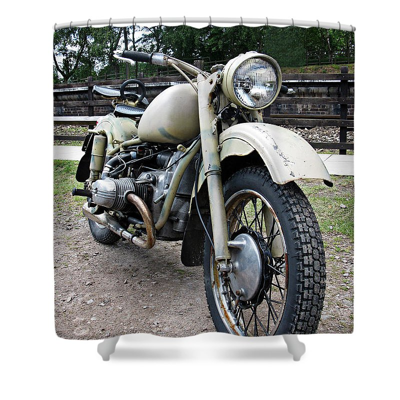 Vintage Shower Curtain Featuring The Photograph Military Motorcycle By Tom Conway