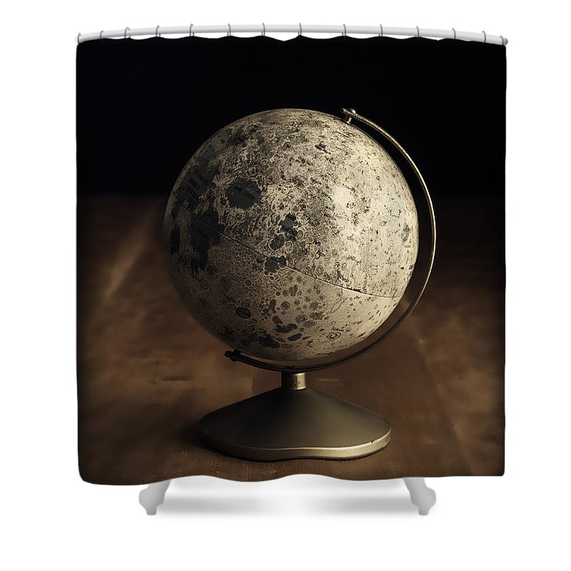 Vintage Shower Curtain featuring the photograph Vintage Moon Globe by Edward Fielding