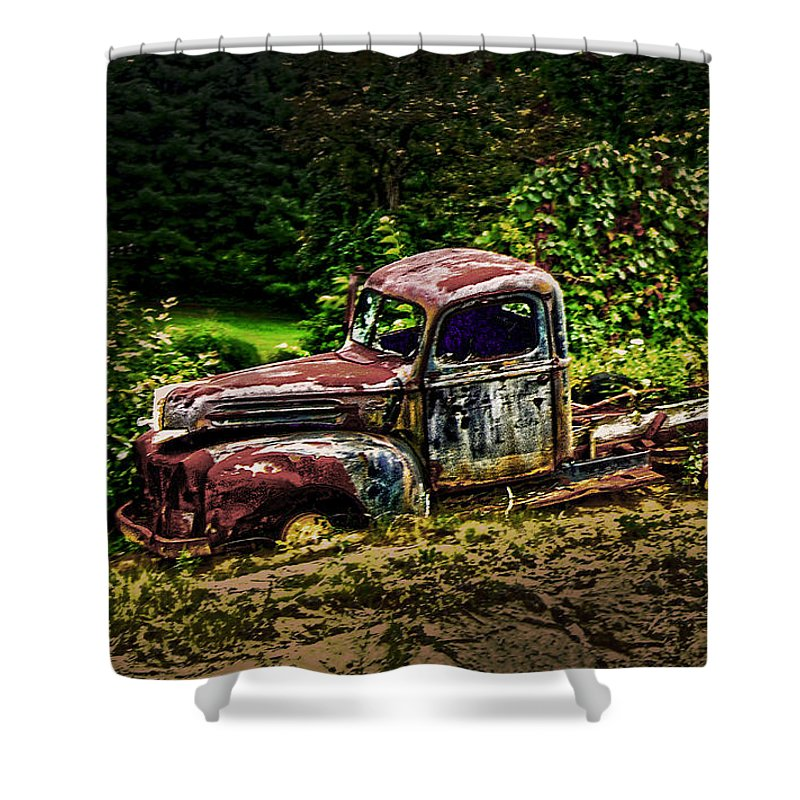 Vintage Shower Curtain featuring the photograph Vintage Old Forty's Pickup by Randall Branham
