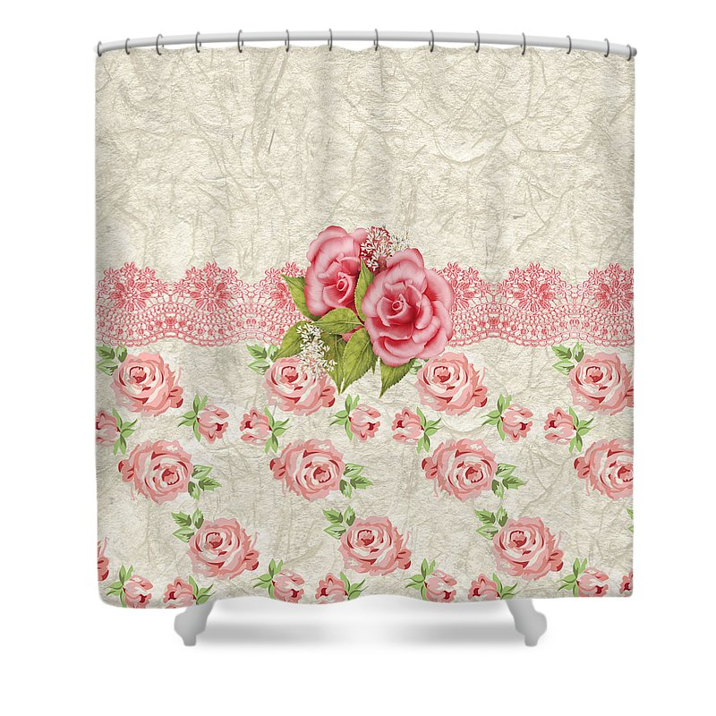 Pink Roses Shower Curtain Featuring The Digital Art Vintage And Cream Rose Pattern By Debra