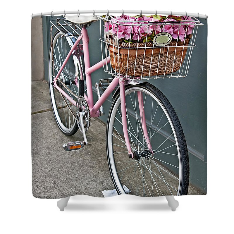 Vintage Bike Shower Curtain featuring the photograph Vintage Pink Bicycle With Pink Flowers Art Prints by Valerie Garner