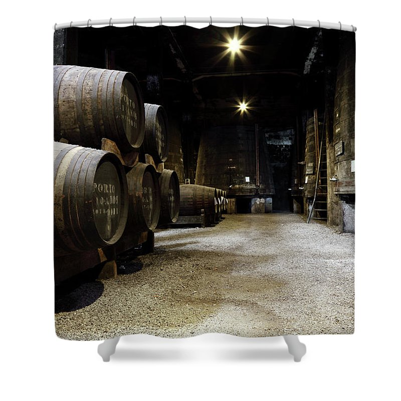 Desaturated Shower Curtain featuring the photograph Vintage Porto Wine Cellar by Vuk8691