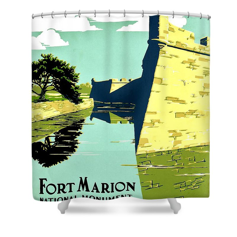 United States Shower Curtain featuring the photograph Vintage Poster - Fort Marion by Benjamin Yeager