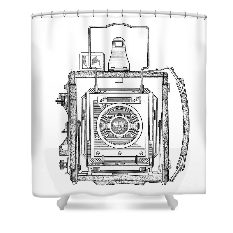 Camera Shower Curtain featuring the digital art Vintage Press Camera Patent Drawing by Edward Fielding
