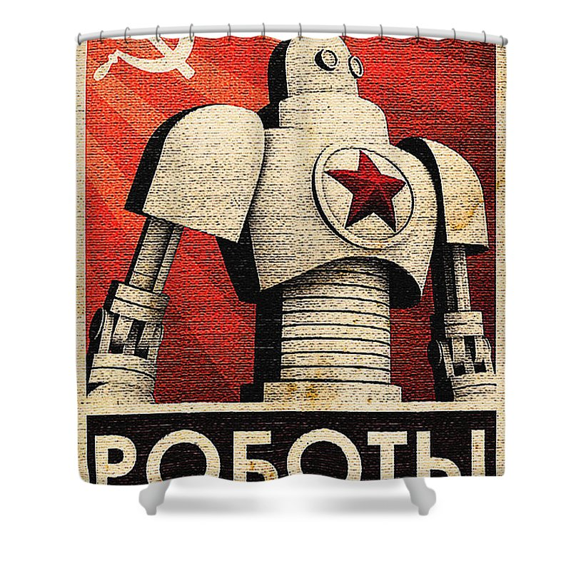 Vintage Shower Curtain featuring the painting Vintage Russian Robot Poster by R Muirhead Art