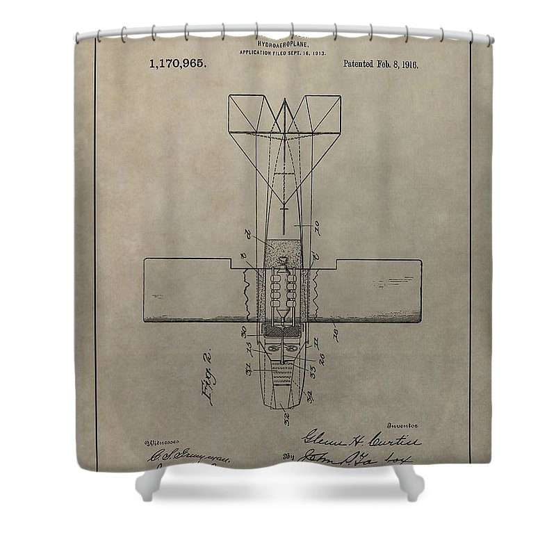 Seaplane Patent Drawing Shower Curtain featuring the mixed media Vintage Seaplane Patent by Dan Sproul