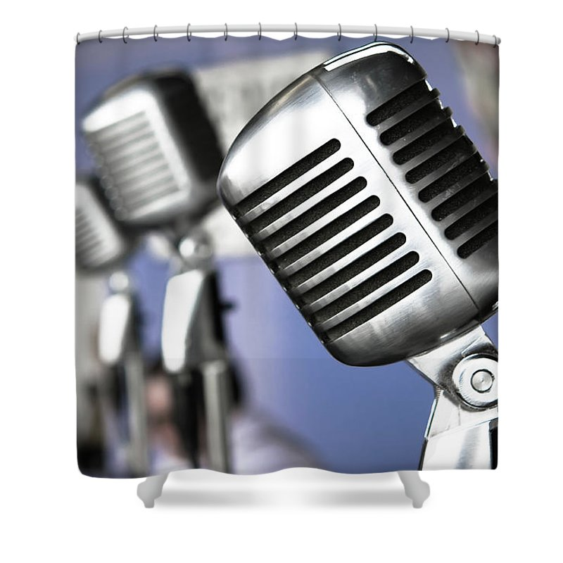 Music Shower Curtain featuring the photograph Vintage Standing Radio Microphones by Photo By Brian T. Evans