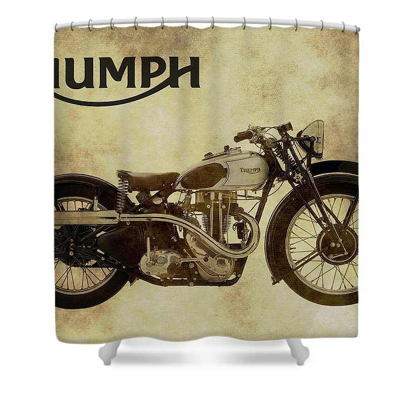 Exceptional Vintage Triumph Motorcycles Shower Curtain Featuring The Photograph Vintage  Triumph Motorcycles By Dan Sproul