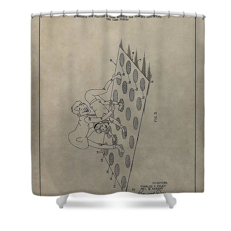 Vintage Twister Game Patent Shower Curtain featuring the mixed media Vintage Twister Game Patent by Dan Sproul