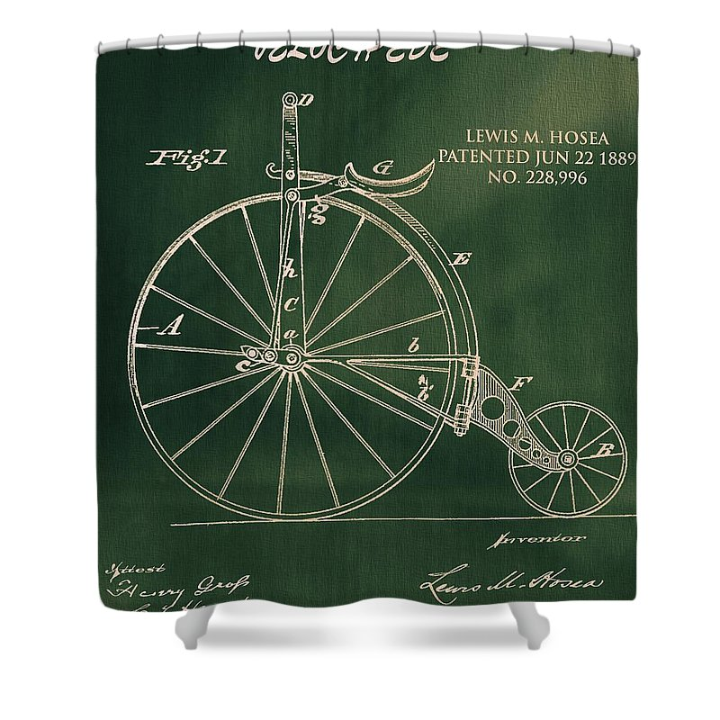 Pop Art Velocipede Patent Shower Curtain featuring the drawing Vintage Velocipede Patent by Dan Sproul