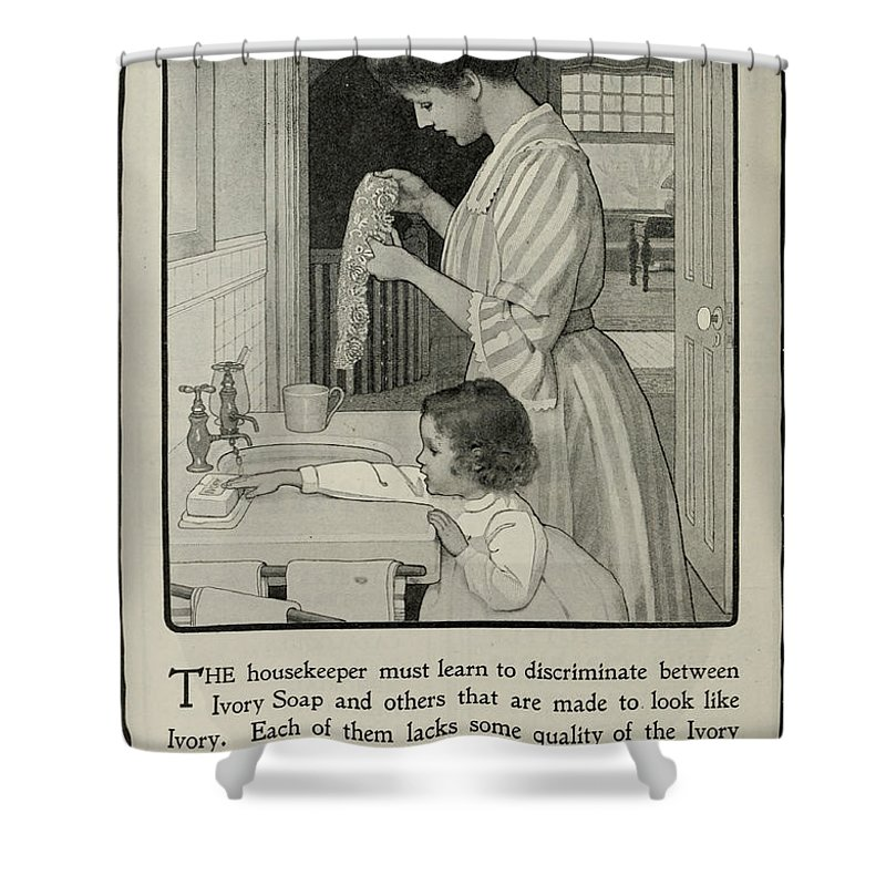 Ad Shower Curtain featuring the photograph Vintage Victorian Soap Advert by Georgia Fowler