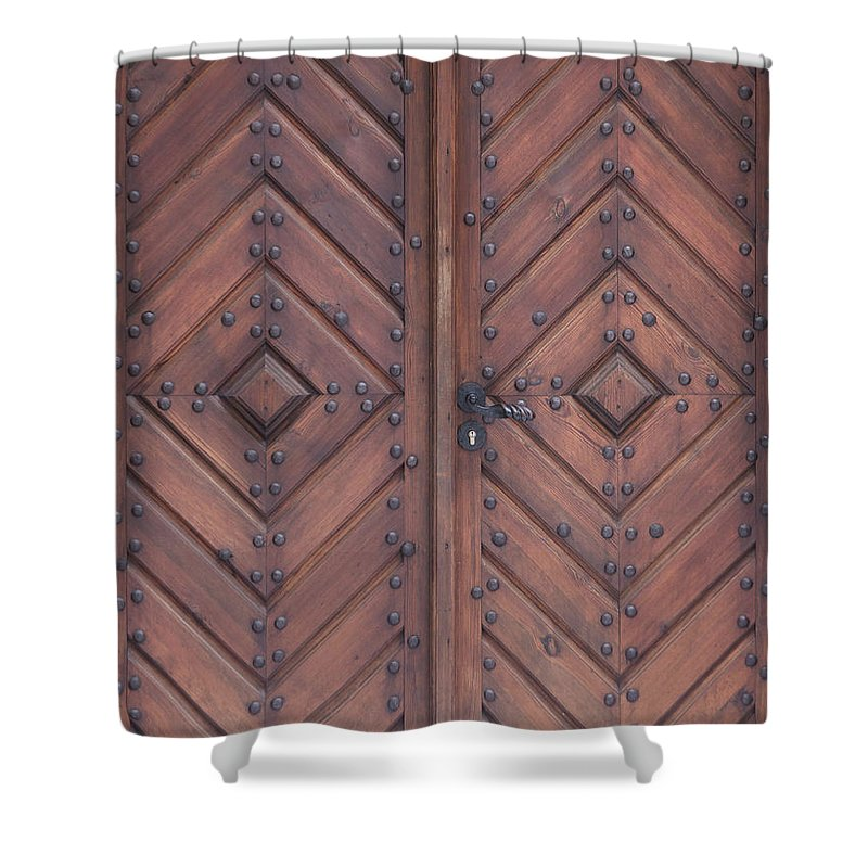 Material Shower Curtain featuring the photograph Vintage Wooden Brown Door Close-up by Bogdan Khmelnytskyi